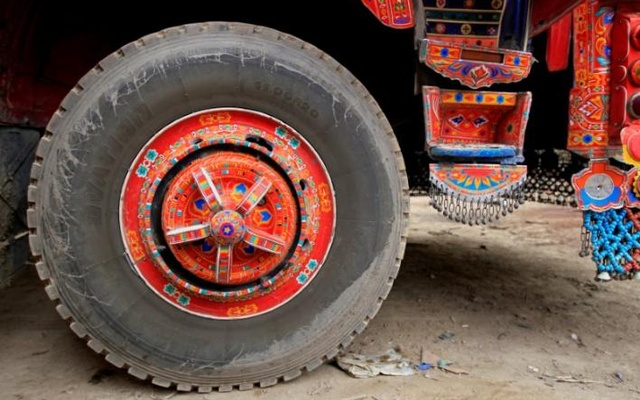 Artwork is seen on a decorated truck outside Faisalabad, Pakistan, May 3, 2017. Reuters