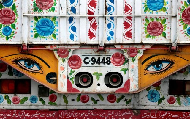 Artwork is seen on a decorated truck in Taxila, Pakistan, May 2, 2017. Reuters