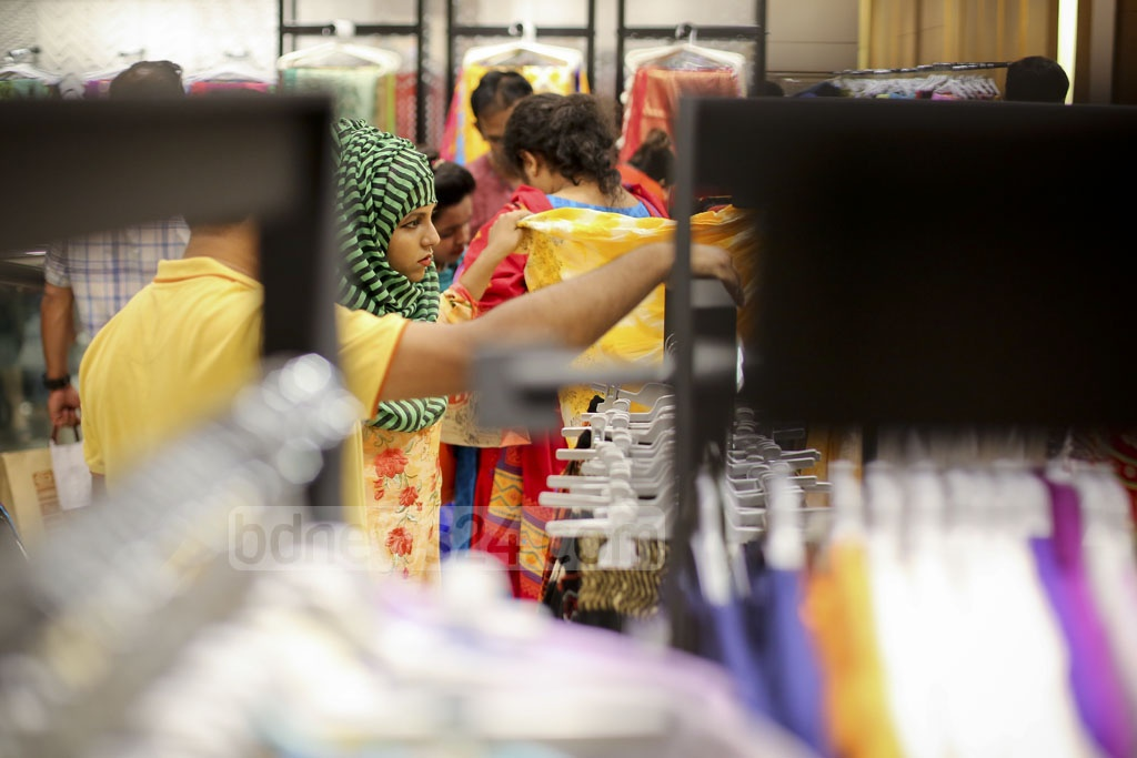 The exhaustive search for Eid dresses is on at Aarong's Bashundhara City shopping centre outlet. Photo: asaduzzaman pramanik