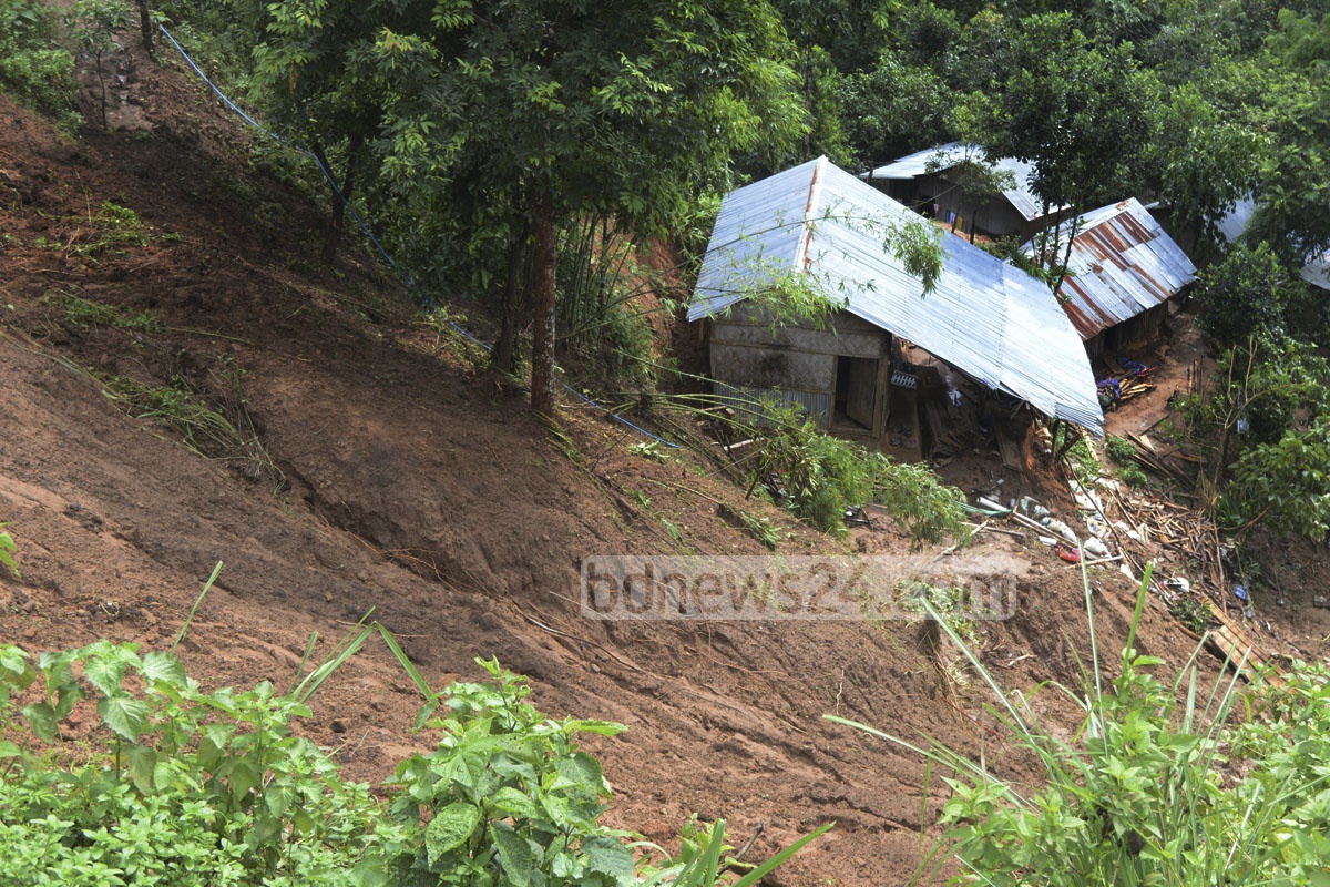 The collapsed hill near the TV station area in Rangamati town.The picture was taken on Friday.