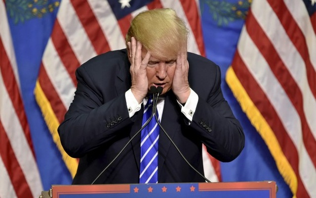 File Photo: Republican presidential candidate Donald Trump gestures as he speaks at a rally in Las Vegas, Nevada October 8, 2015. Reuters