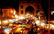 Area around Charminar presents an extraordinary spectacle during the last days of Ramadan with crowded and dazzling markets, illuminated shops and shouts of hawkers selling everything. Photo via SeekSherpa blog