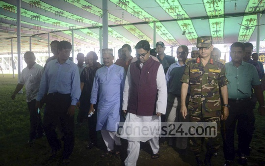 Dhaka South City Corporation Mayor Sayeed Khokon inspects the preparations for the main Eid congregation at the capital's national Eidgah on Saturday.