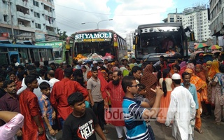 As many as 150 workers of Monde Apparels Ltd in Dhaka blocked a road in Kalyanpur for over an hour on Saturday for 3 months back pay and bonuses/