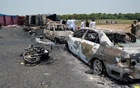 Burnt out cars and motorcycles are seen at the scene of an oil tanker explosion in Bahawalpur, Pakistan June 25, 2017. Reuters
