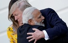 File Photo: India's Prime Minister Narendra Modi hugs US President Donald Trump as he departures the White House after a visit, in Washington, US, June 26, 2017. Reuters