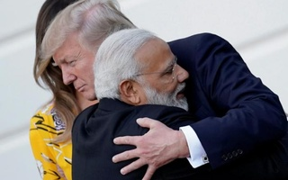 India's Prime Minister Narendra Modi hugs US President Donald Trump as he departures the White House after a visit, in Washington, US, Jun 26, 2017. Reuters