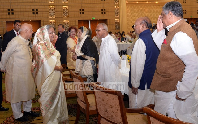 Prime Minister Sheikh Hasina, Finance Minister AMA Muhith and Leader of the Opposition in Parliament Raushon Ershad at the post-budget dinner in Bangabandhu International Conference Centre after passing the budget for fiscal 2017-18 in parliament on Thursday. Photo: PID