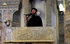 Reuters/FILE PHOTO A man purported to be the reclusive leader of the militant Islamic State Abu Bakr al-Baghdadi making what would have been his first public appearance, at a mosque in the centre of Iraq's second city, Mosul, according to a video recording posted on the internet on July 5, 2014, in this still image taken from video.