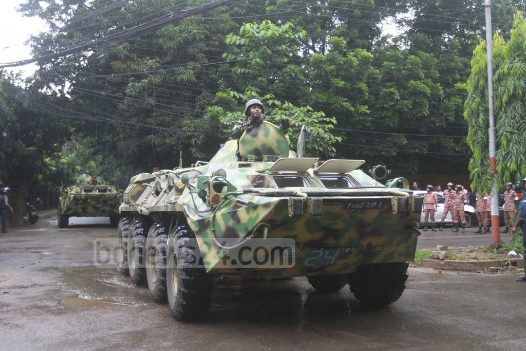 Soldiers drove to Road-79 in armoured vehicles. Snipers were already in position.