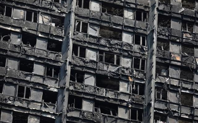 The burnt out remains of the Grenfell Tower are seen in North Kensington, London, Britain Jun 20, 2017