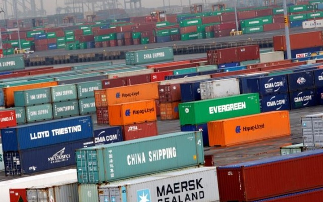 FILE PHOTO: Shipping containers are seen at the Port Newark Container Terminal in Newark, New Jersey, U.S. on July 2, 2009. Reuters