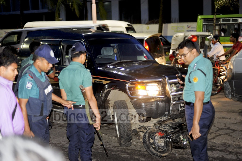 A motorcycle rider has been critically injured after his two-wheeler was run over by a High Court judge's car that was on the wrong lane of a road in Dhaka on Sunday evening. The victim has been admitted to BSMMU hospital. Photo: Collected