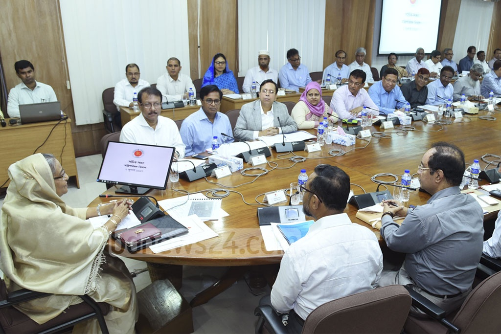 Prime Minister Sheikh Hasina chairs a meeting with government secretaries on Monday.