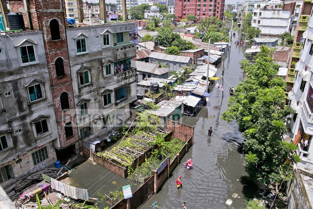 Islambagh in Narayanganj has been waterlogged for almost two months. The area adjoining the District Council offices has no water drainage system. Photo: tanvir ahammed