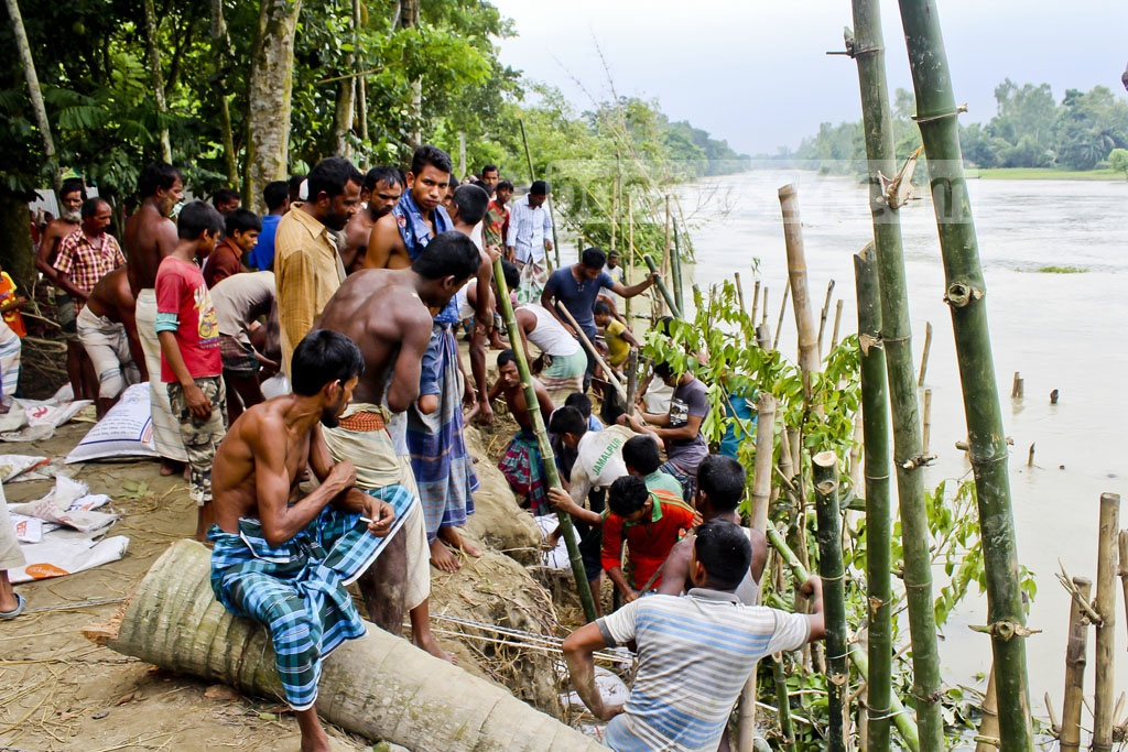 Locals dumping sandbags by a river in Jamalpur to save its embankment from wearing away in flashfloods.