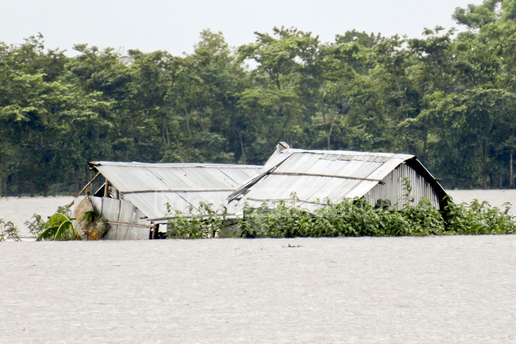 Heavy rains and upstream water inundate more than half of Moulvibazar district leaving thousands of people stranded.