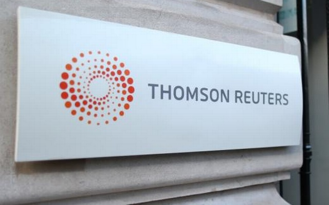 The logo of Thomson Reuters is pictured at the entrance of its Paris headquarters, France, March 7, 2016. Reuters