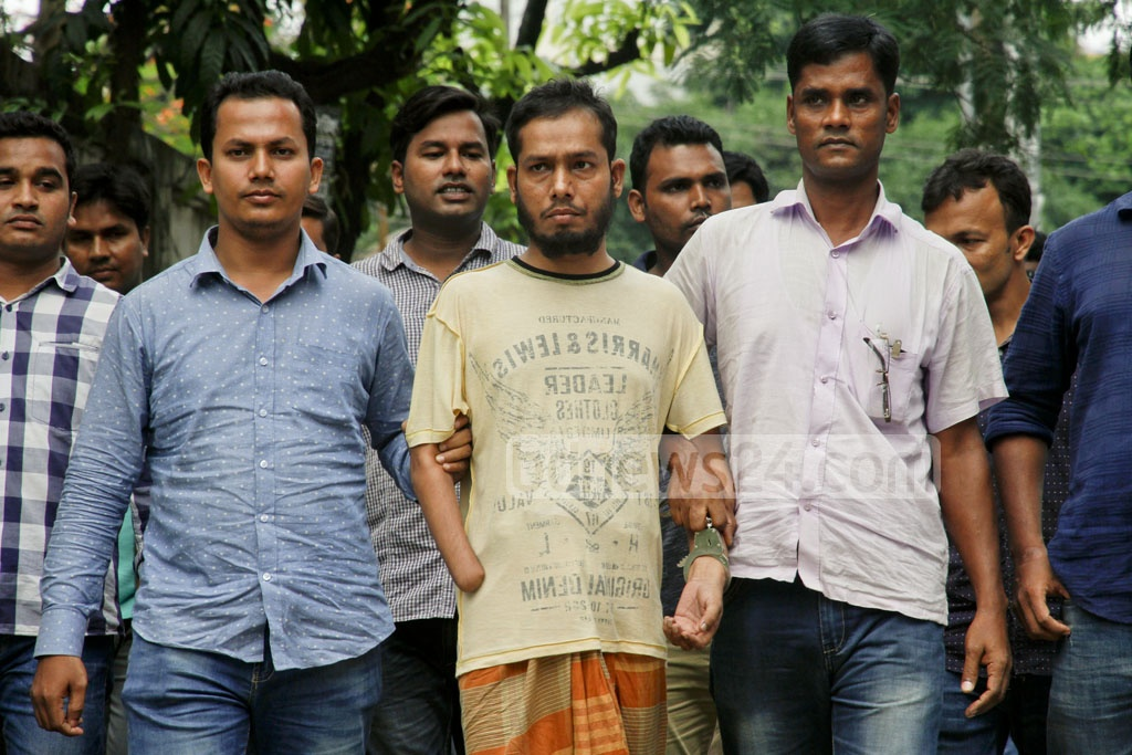 Neo-JMB leader Soheil Mahfuz, who had supplied the grenades used in the 2016 Gulshan attack, brought to the Detective Branch headquarters in Dhaka after his arrest in Chapaibawabganj on Saturday. Photo: tanvir ahammed