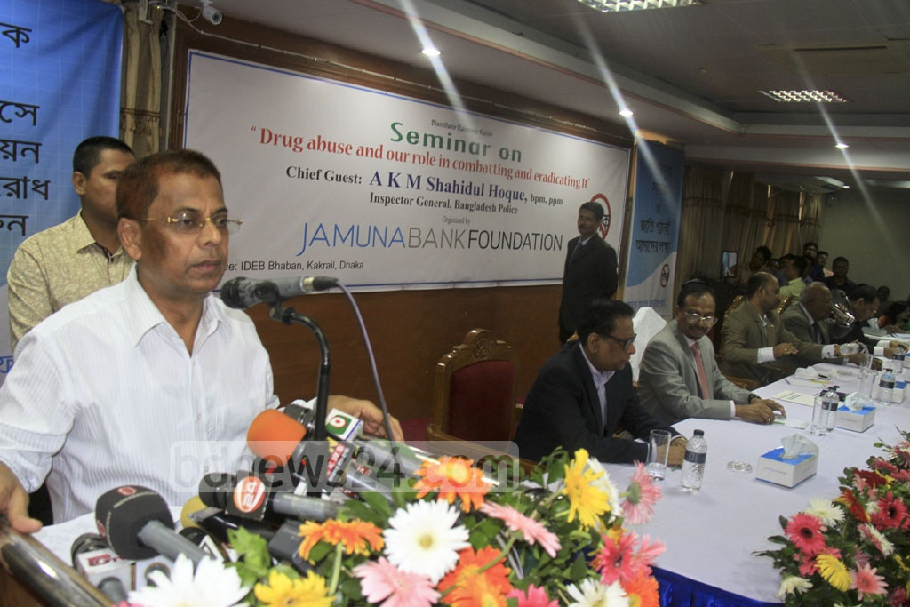 Police Inspector General AKM Shahidul Hoque speaks at an event on preventing drug abuse and terrorism at an event in Dhaka's Kakrail on Saturday.