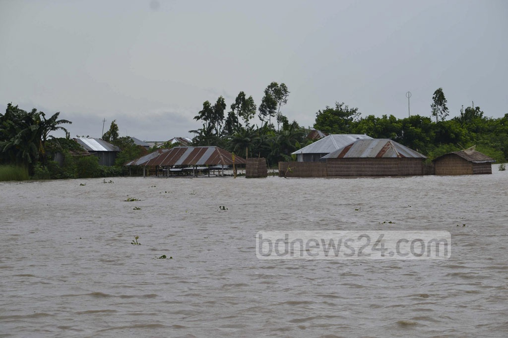 Hundreds of families are cut off by floodwaters surrounding Baladoba Char at Begumganj Union in Kurigram's Ulipur Upazila. Photo taken on Tuesday.