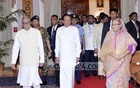 Sri Lankan President Maithripala Sirisena with President Md Abdul Hamid and Prime Minister Sheikh Hasina during his visit to Bangladesh