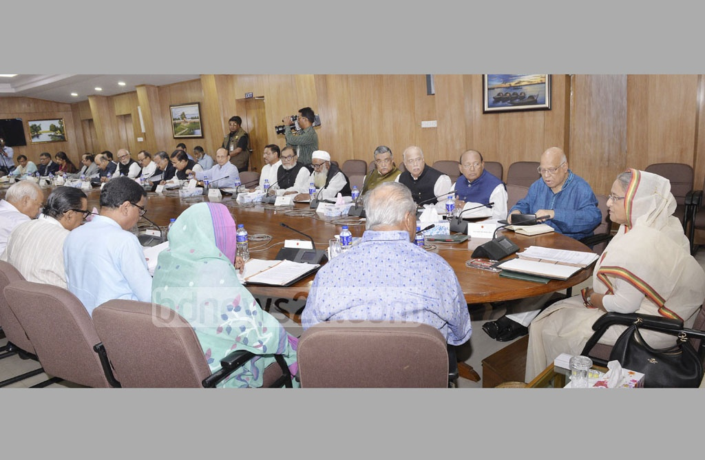 Prime Minister Sheikh Hasina leads the weekly cabinet meeting at the Secretariat on Monday. Photo: PID