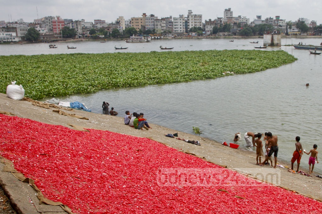 Red-coloured plastic particles are being sun-dried by the Buriganga River. Particles fall into water, adding to river pollution. Photo: tanvir ahammed