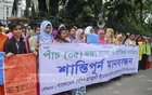 Nurses under the banner of Bangladesh Basic Graduate Nurses Association demonstrate in front of the National Press Club in Dhaka on Tuesday to press home their five-point demands, including revision of their pay scale.