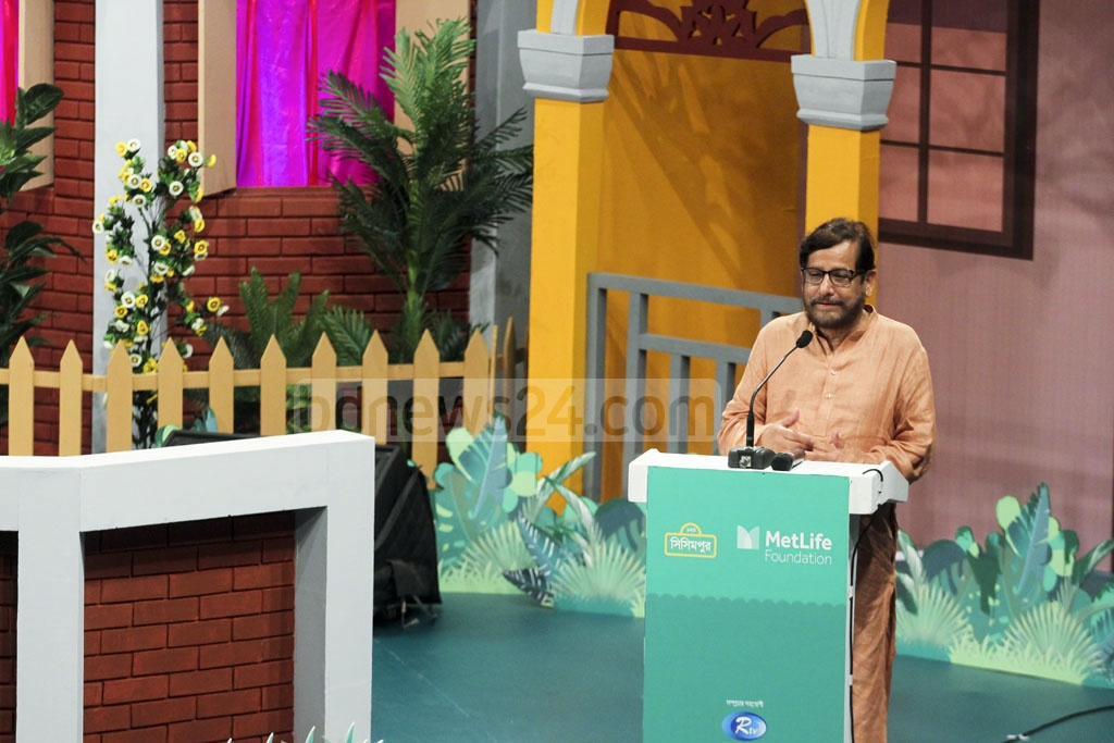 Cultural Affairs Minister Asaduzzaman Noor speaking at the project inauguration programme at Tejgaon's Bengal Multimedia Studio. Photo: abdul mannan