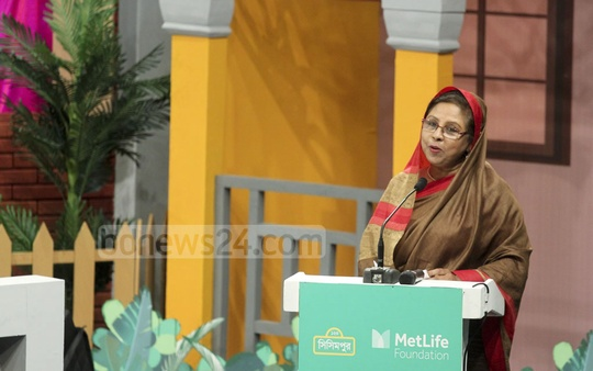 State Minister for Women and Children Affairs Meher Afroze Chumki addressing the new Sisimpur project launching ceremony. Photo: abdul mannan