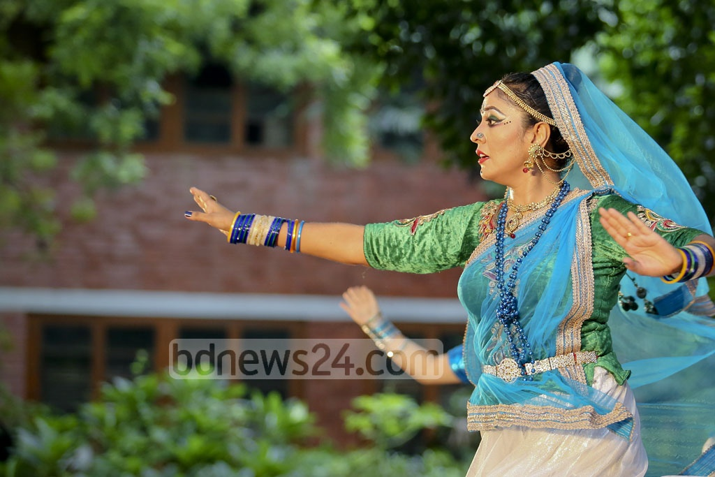 A dancer performs during a festival to celebrate the rainy season. The event was organised at Dhaka University's Faculty of Fine Arts by Satyen Sen School of Performing Arts on Friday. Photo: asaduzzaman pramanik