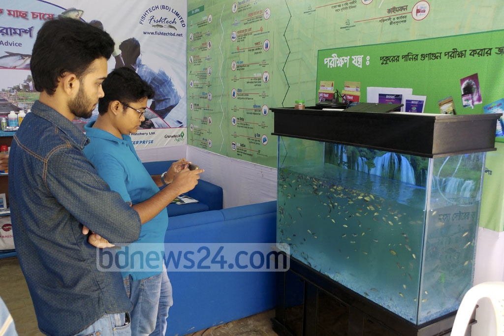 A man takes photo of fishes kept in an aquarium while another visitor looks on in a stall at the fair.