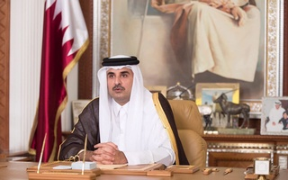 Emir of Qatar Sheikh Tamim bin Hamad al-Thani delivers a televised speech in Doha, Qatar, July 21, 2017. Qatar News Agency/Handout via Reuters