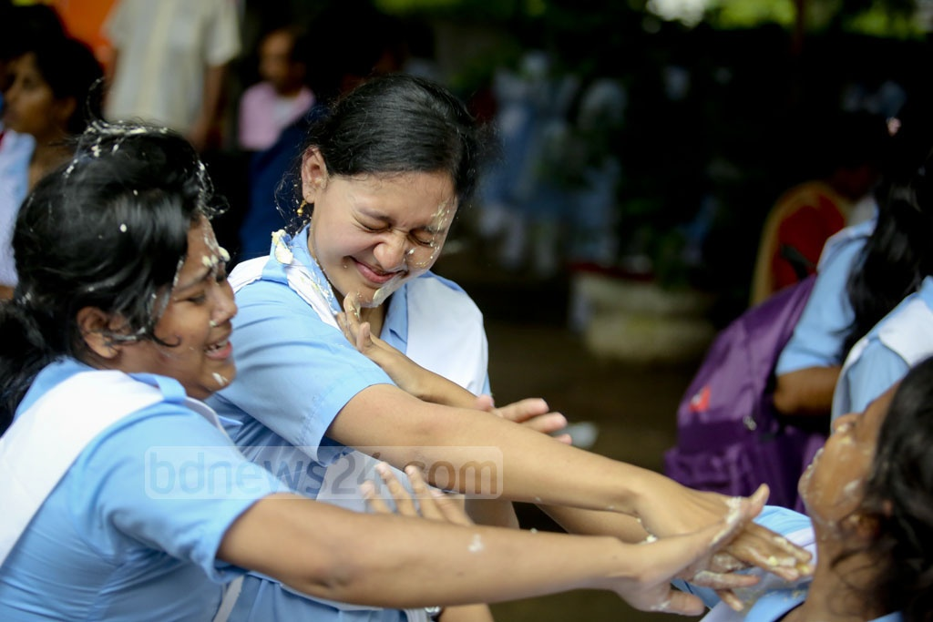 Students of other grades in Viqarunnisa Noon School and College join the celebration of the institution's achievement in the HSC exams. Photo: asaduzzaman pramanik