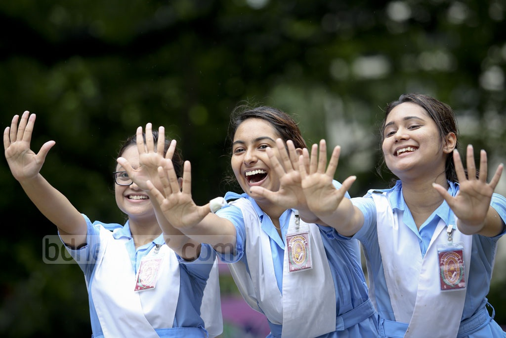 Students of Viqarunnisa Noon School and College celebrate their successes in HSC exams. Photo: asaduzzaman pramanik