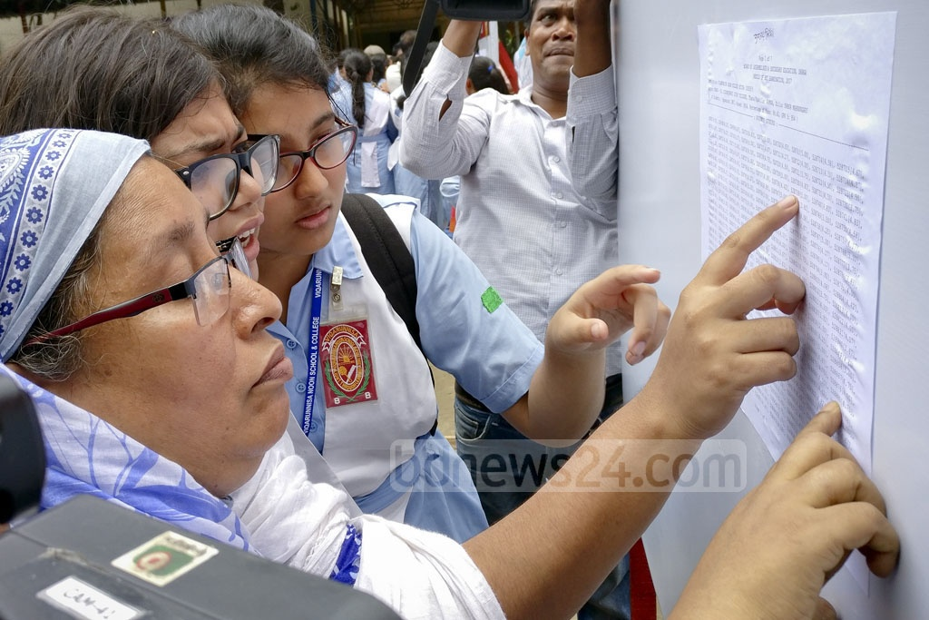 Students and guardians scan the HSC results board at Viqarunnisa Noon School and College on Sunday. Photo: asaduzzaman pramanik