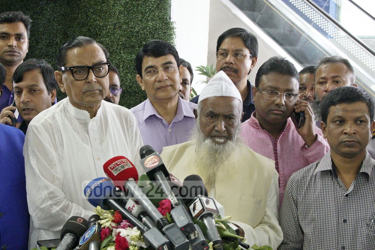 Civil Aviation Rashed Khan Menon and Religious Affairs Minister Matiur Rahman at a media briefing at Dhaka airport on Monday after the first Hajj flight left.