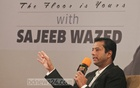 ICT Affairs Adviser to the Prime Minister Sajeeb Ahmed Wazed Joy talking at an event ​titled​ 'Let's Talk'​, ​organised to exchange views with the youths at a hotel in Dhaka on Wednesday.