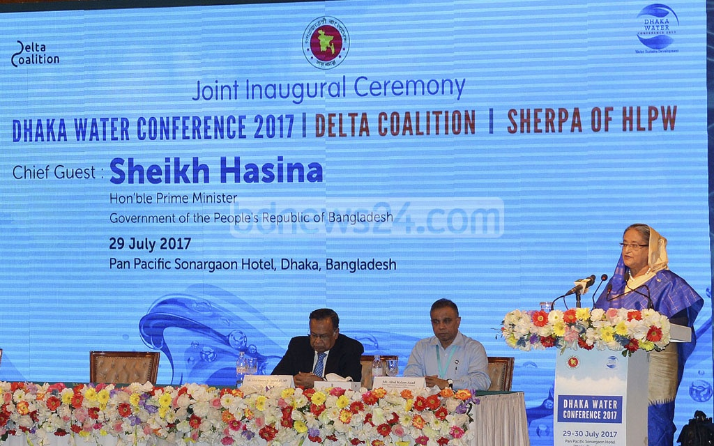 Prime Minister Sheikh Hasina addresses the inaugural session of the three-day Dhaka Water Conference at the capital's Pan Pacific Sonargaon Hotel on Saturday. Photo: PID