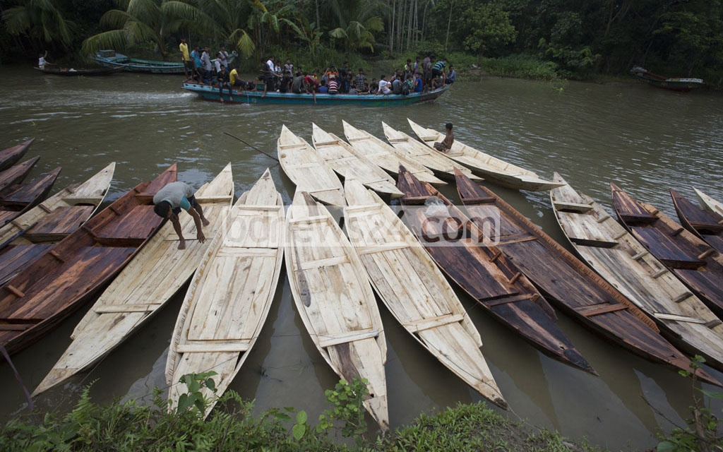 New boats join the fleet of the old on Aatghar canal every year during rainy season.