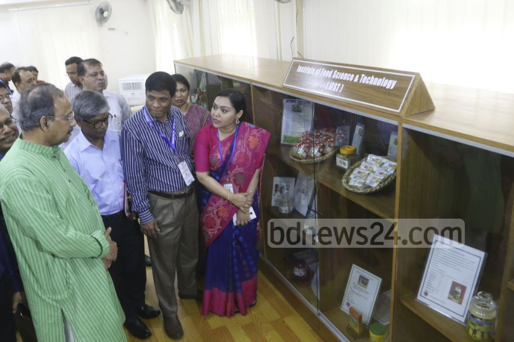 Science and Technology Minister Yafes Osman visits the Innovation Gallery organised by the Bangladesh Council of Scientific and Industrial Research on Sunday. Photo: asaduzzaman pramanik