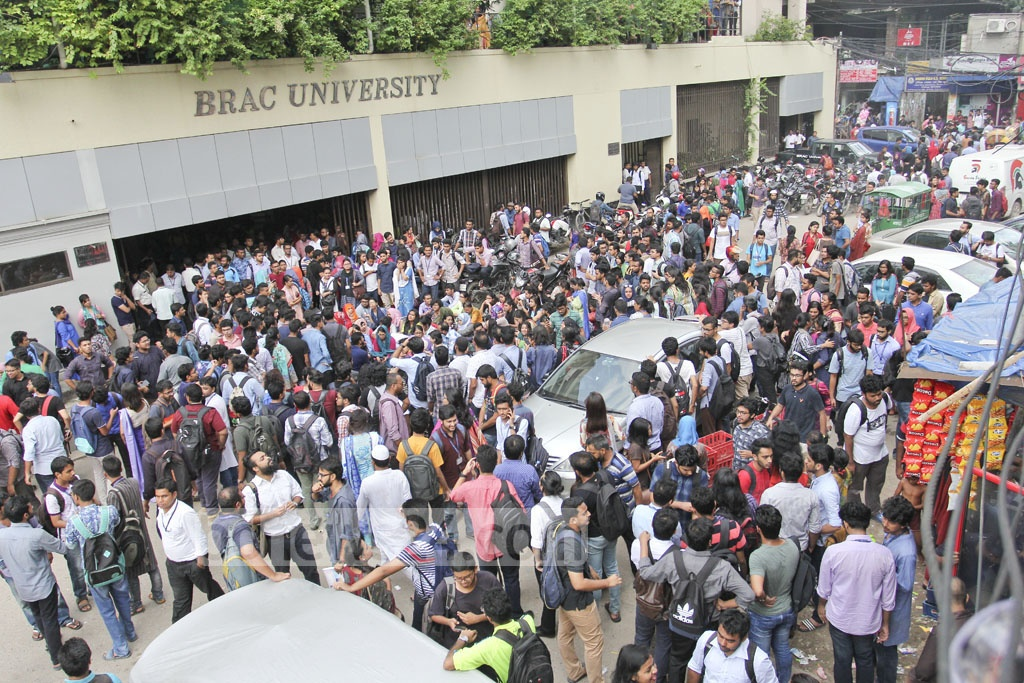 Brac University students demonstrated on Monday at their campus in Dhaka's Mohakhali protesting the alleged assault of a teacher by officials of the private university. Photo: asif mahmud ove