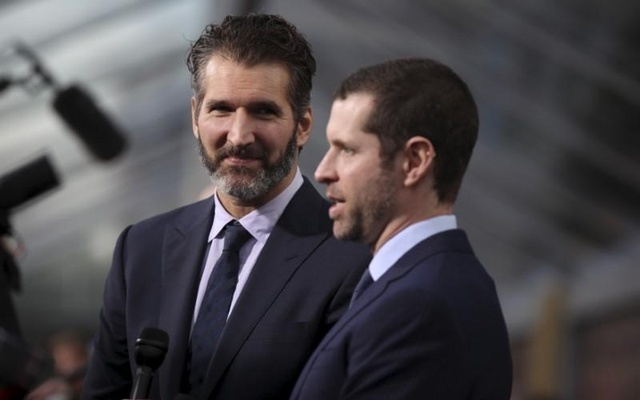 David Benioff (L) and Dan Weiss, creators and executive producers, arrive for the season premiere of HBO's