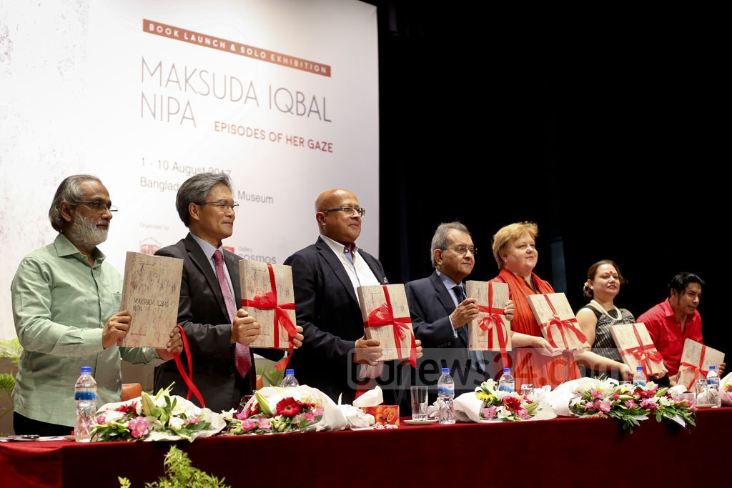 Guests formally launch the book, 'Maksuda Iqbal Nipa - Episodes of Her Gaze', on the artist and her works at an event at the National Museum. Photo: asaduzzaman pramanik