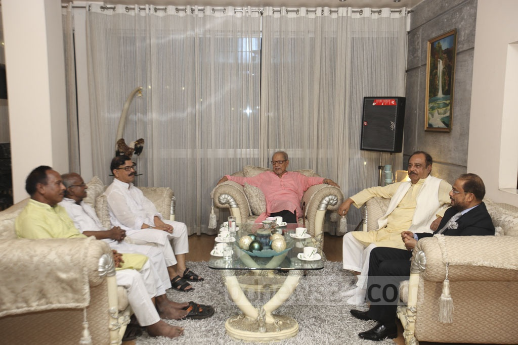 JSD chief ASM Abdur Rab, Jatiya Party leader GM Quader, Nagorik Oikya's Mahmudur Rahman Manna and Gano Forum presidium member Subrata Chowdhury in a meeting at Bikalpadhara chief AQM Badrudoza's Baridhara home on Wednesday night.
