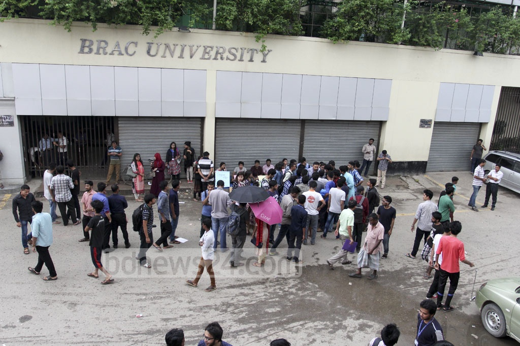 Students of BRAC University go on hunger strike in Dhaka on Thursday protesting attacks on their ongoing demonstration against an alleged assault on a teacher.
