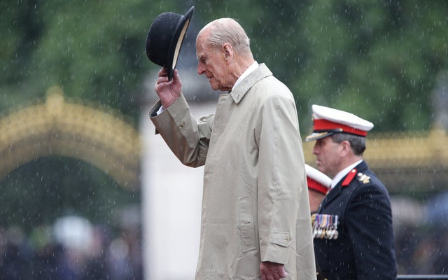 Britain's Prince Philip, in his role as Captain General, Royal Marines, attends a Parade to mark the finale of the 1664 Global Challenge, on the Buckingham Palace Forecourt, in central London, Britain August 2, 2017. The 96-year-old husband of Britain's Queen Elizabeth, made his final solo appearance at the official engagement on Wednesday, before retiring from active public life. Reuters