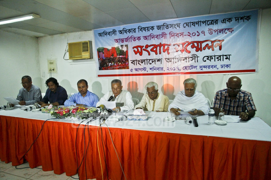 Adibashi Forum Chairman Jyotirindra Bodhipriya Larma aka Shanta Larma holds a press conference in Dhaka on International Day of World's Indigenous Peoples on Saturday.