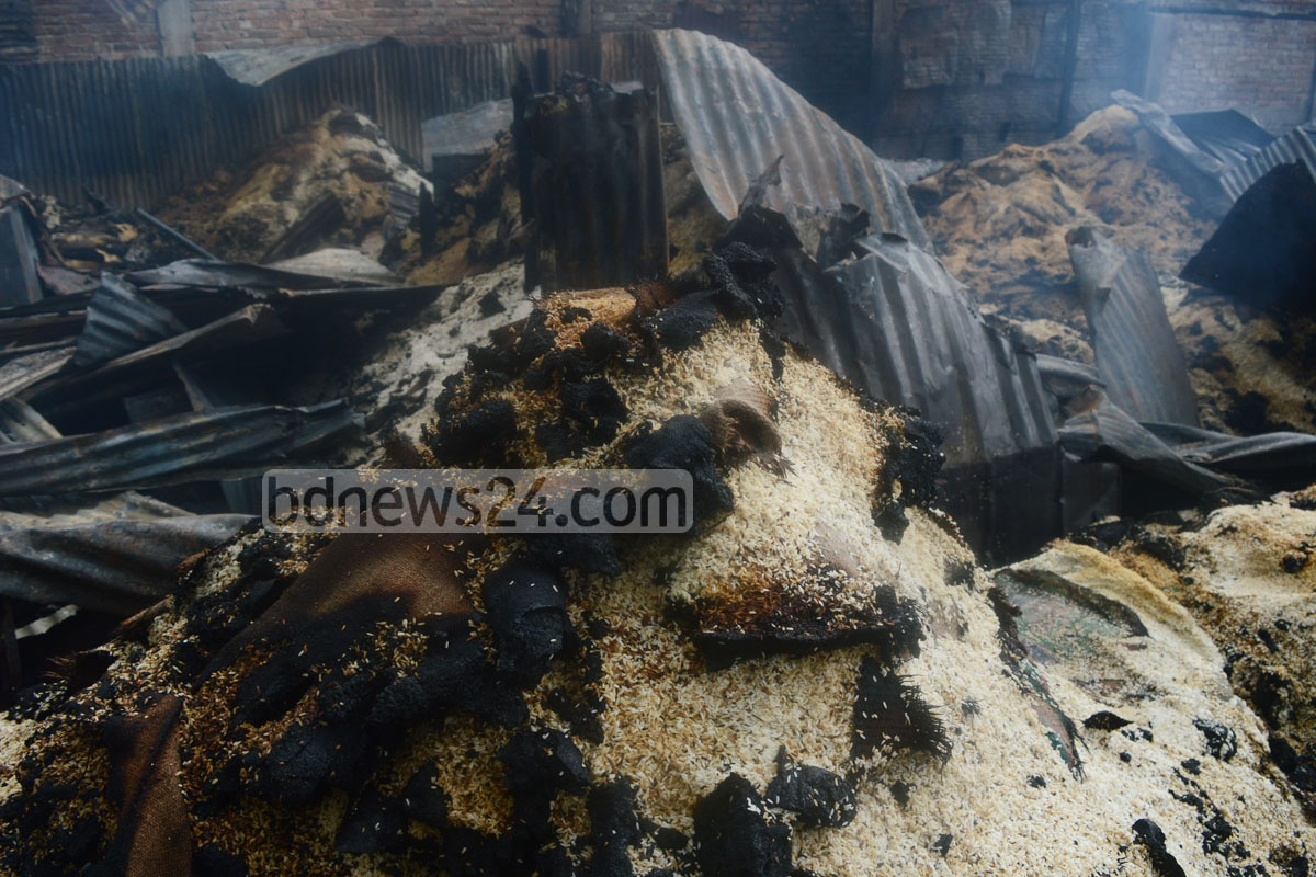 Rice trade hub Chalpotti at Chaktai in Chittagong caught fire in the wee hours of Sunday. The traders said the fire burnt down three rice mills, a warehouse and 16 businesses.